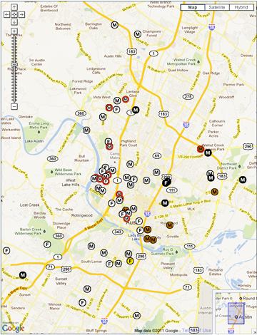 Electee Residences Map 1971-2011 (Click to see live maps)
