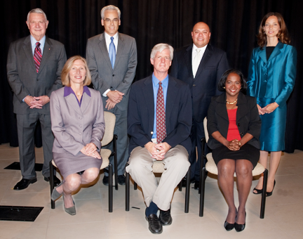 The 2011 Austin City Council: (L-R) Mayor Lee Leffingwell and Council Members Laura Morrison, Chris Riley, Bill Spelman, Mike Martinez, Sheryl Cole, Kathie Tovo