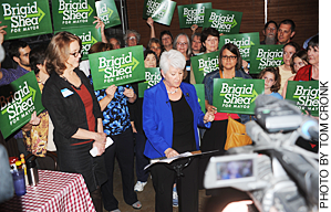 Brigid Shea surrounded by supporters