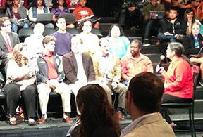 Ten citizen panelists and moderator Nestlerode