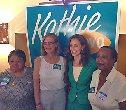 Ruby Roa, Laura Morrison, Kathie Tovo, and Saundra Kirk pose post-speeches at the June 3 campaign kickoff event