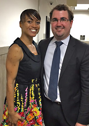 A happy mother, Cassandra Medrano, and her attorney Jake Gilbreath, after the trial.