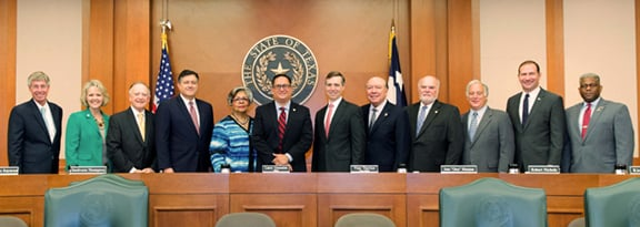 "Sunset Advisory Commission members (left to right) are public member William Meadows; State Representatives Cindy Burkett, Dan Flynn, Richard Peña Raymond, Senfronia Thompson, and Chair Larry Gonzales; and State Senators including Vice Chair Van Taylor, Juan ""Chuy"" Hinojosa, Robert Nichols, Kirk Watson; and public member Allen West."