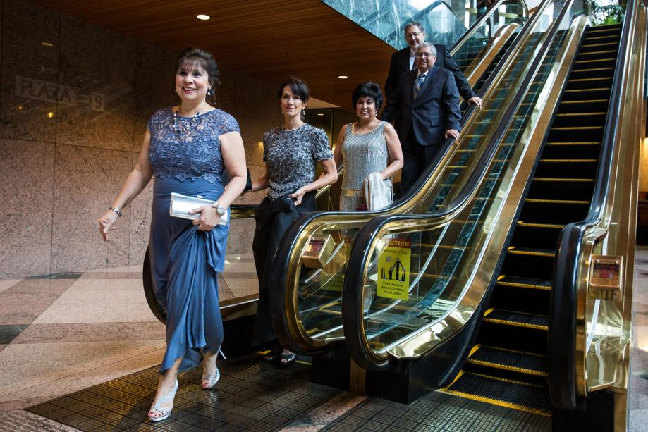Rosie Mendoza (far left) arrives at the Chair's VIP reception for the Greater Austin Hispanic Chamber of Commerce's Celebrando Austin, September 13, 2014. Central Health paid $2,500 to sponsor the event. (Photo by Martin do Nascimento/Austin American-Statesman)