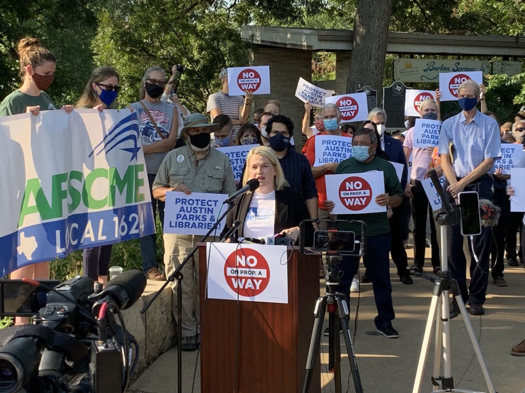 Travis County Democratic Party Chair Katie Naranjo at a rally against Prop A